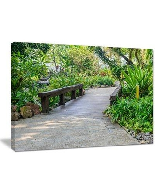 """DesignArt 'Stone Pathway into Garden' Photographic Print on Wrapped Canvas PT15205- Size: 30"""" H x 40"""" W x 1"""" D"""