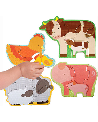 Beginner Puzzle - Farm Babies - Early Learning Toys for Babies - Fat Brain Toys