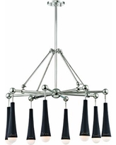 """Tupelo 29"""" Wide Polished Nickel and Black 8-LED Chandelier"""