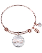 Unwritten Infinity Glass Shaker Charm Adjustable Bangle Bracelet in Rose Gold-Tone Stainless Steel with Silver Plated Charms
