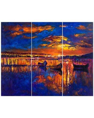 East Urban Home 'City View in Golden Sunset' Oil Painting Print Multi-Piece Image on Wrapped Canvas FCIV6387