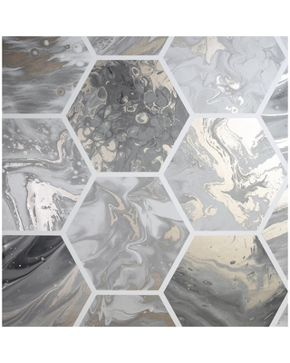 Arthouse Marbled Hex Metallic Unpasted Wallpaper (Charcoal)