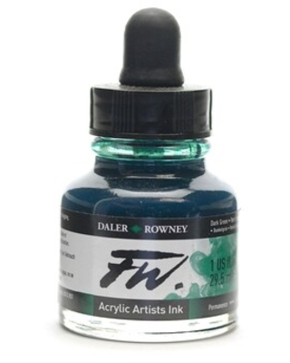 Daler-Rowney Fw Artists Ink, Dark Green, 1 Oz, Pack Of 2 (2Pack 160029326) | Quill