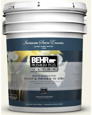 BEHR Premium Plus Ultra 5 gal. #bwc-04 Beach House Satin Enamel Interior Paint and Primer in One
