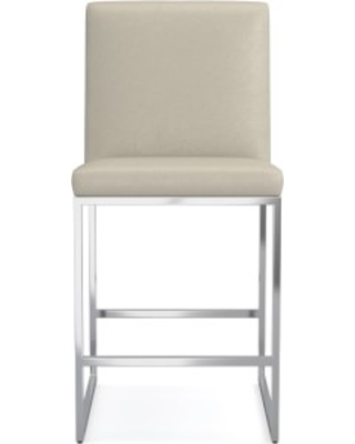 Lancaster Dining Counter Stool, Italian Distressed Leather, Ivory, Polished Nickel