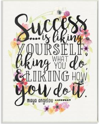 """Stupell Industries Success Is Liking Yourself Floral Textual Art mwp-239_cn_0 Size: 15"""" H x 10"""" W Format: Plaque"""