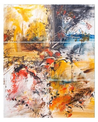 'Mixed Abstract Painting' Oil Painting Print Multi-Piece Image on Wrapped Canvas East Urban Home