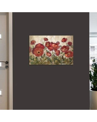 "Charlton Home Daydreaming Flowers Red Painting Print on Wrapped Canvas CHLH5515 Size: 12"" H x 18"" W x 0.75"" D"