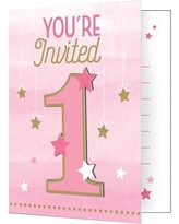 Creative Converting One Little Star Boy Birthday Paper Disposable Invitation DTC322248INV / DTC322268INV Color: Pink
