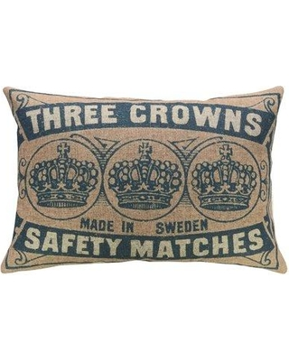 Gracie Oaks Mcauley Crowns Linen Throw Pillow BI018286