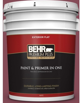 BEHR Premium Plus 5 gal. #MQ1-02 Wine Not Flat Exterior Paint and Primer in One