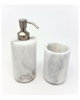 Deals For Mossley Powder Honed Marble 3 Piece Bathroom Accessory Set Alcott Hill