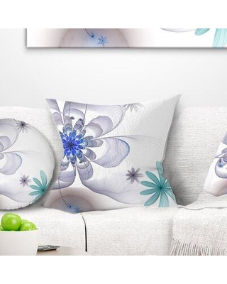 """East Urban Home Floral Symmetrical Fractal Flower Pillow FUVD9495 Size: 18"""" x 18"""" Product Type: Throw Pillow"""
