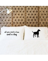 One Bella Casa 2 Piece Love and Dog Pillowcase Set 74001PCE59