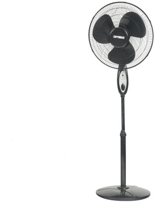 """Optimus 16"""" Oscillating Stand 3-Speed Fan, Model #F-1672, Black with Remote"""