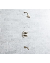 Warby Thermostatic Cross-Handle Bathtub & Shower Faucet Set, Satin Nickel Finish