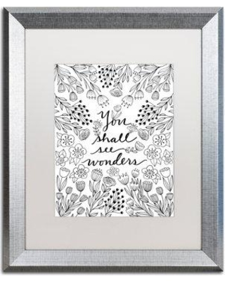 "Trademark Art 'You Shall See Wonders BW' Framed Graphic Art Print ALI5553-S1 Matte Color: White Size: 20"" H x 16"" W x 0.5"" D"