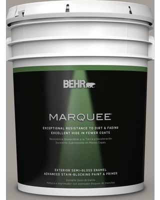 BEHR MARQUEE 5 gal. #PPU18-15 Fashion Gray Semi-Gloss Enamel Exterior Paint and Primer in One