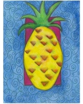 "Winston Porter 'Pineapple Paint' Acrylic Painting Print on Wrapped Canvas WNPO1919 Size: 47"" H x 35"" W x 2"" D"
