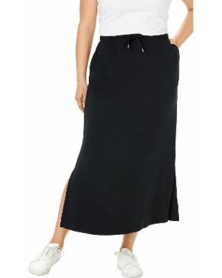 Plus Size Women's Sport Knit Side-Slit Skirt by Woman Within in Black (38/40) | Cotton