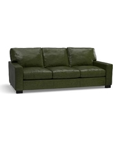 "Turner Square Arm Leather Sofa 85.5"", Down Blend Wrapped Cushions, Legacy Forest Green"