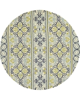 Covington Pegasus Ivory-Navy-Lime 8 ft. x 8 ft. Round Indoor/Outdoor Area Rug