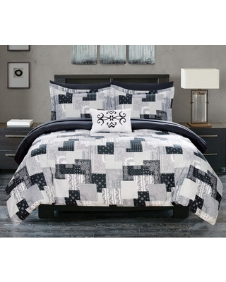 Queen 8pc Viy Bed In A Bag Comforter Set Black - Chic Home