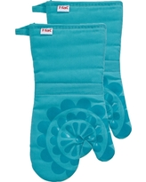 """Teal (Blue) Medallion Silicone Oven Mitt 2 Pack (13""""x13"""") T-Fal"""