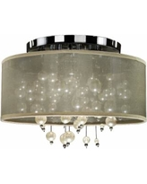 """Champagne 15""""W Chrome 3-Light Faux Pearl Ceiling Light"""