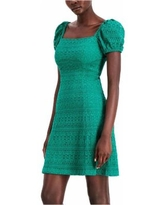 Puff-sleeve Lace A-line Dress - Green - Kensie Dresses