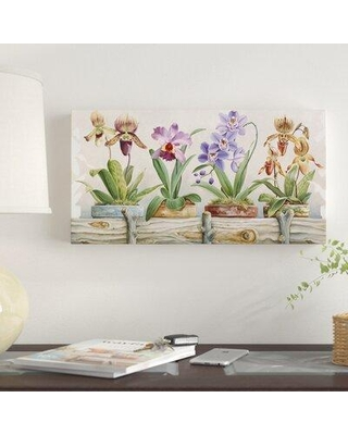 """East Urban Home 'Flower Pots 5' Photographic Print on Wrapped Canvas EBHV3307 Size: 24"""" H x 47"""" W"""