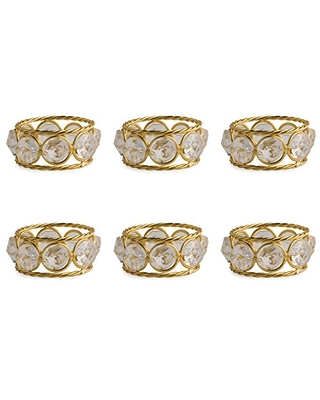 DII Modern Chic Napkin Rings Made of Twisted Wire and Crystals for Dinner Parties, Weddings Receptions, Family Gatherings, or Everyday Use, Set Your Table With Style - Gold Jewels