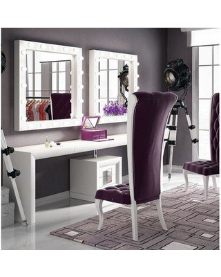 Everly Quinn Everly Quinn Kirkwood Bedroom Makeup Vanity Set with Mirror  EYQN6784 Color: Black Glossy from Wayfair | myweddingShop