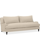 "Carlisle Upholstered Sofa 80"" with Bench Cushion, Polyester Wrapped Cushions, Twill Parchment"