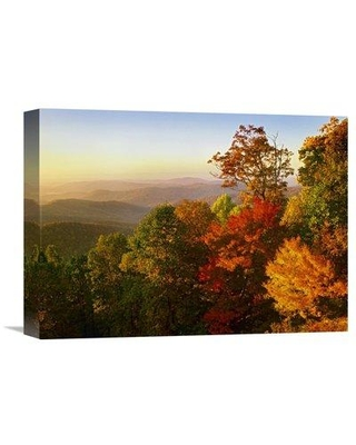 "East Urban Home 'Blue Ridge Mountains from Bluff Mountain Overlook North Carolina' Photographic Print on Wrapped Canvas GCS-396680- Size: 12"" H x 16"" W x 1.5"" D"