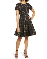 Shani Floral Fit & Flare Cocktail Dress, Size 8 in Black/Nude at Nordstrom
