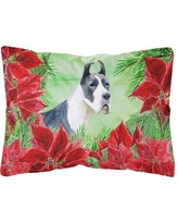 The Holiday Aisle Osage Harlequin Great Dane Poinsettias Indoor/Outdoor Throw Pillow BI148782
