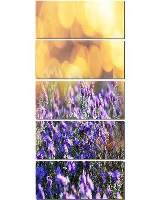 Design Art 'Purple Flowers on Brown Background' 5 Piece Photographic Print on Wrapped Canvas Set PT12474-401V
