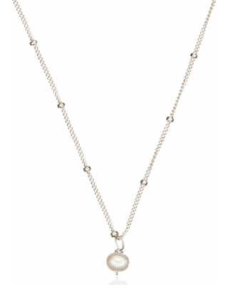 29143e598dd98 Lily & Roo - Sterling Silver Single Pearl Necklace On Satellite Chain