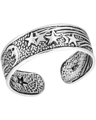 Handmade Celestial Sky with the Sun Moon and Stars Sterling Silver Toe or Pinky Ring (Thailand) (Fashion)