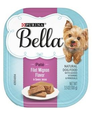 Purina Bella Filet Mignon Flavor in Savory Juices Small Breed Wet Dog Food Trays, 3.5-oz, case of 12