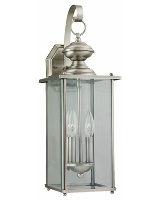"Chicopee 20.25"" H Outdoor Wall Lantern Fixture Finish: Brushed Nickel, Bulb Included: No"