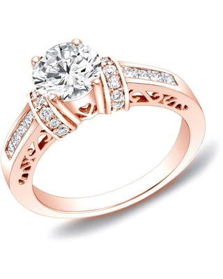 Auriya 14k Rose Gold 1 1/4ctw Round Diamond Engagement Ring with Hearts (8)