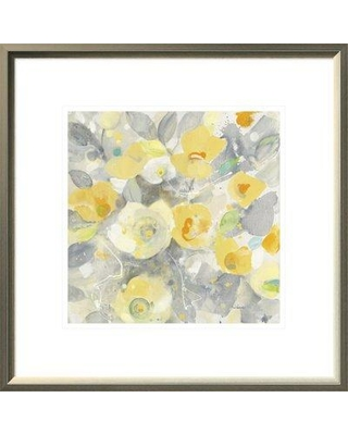 """East Urban Home 'Buttercups II' Print on Canvas EUHE1986 Size: 19.6"""" H x 19.6"""" W Format: Light Gray Framed Canvas Matte Color: White"""