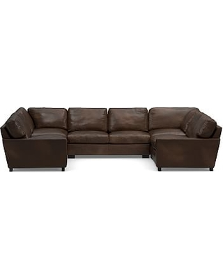 Turner Square Arm Leather 5-Piece U-Shaped Sectional, Down Blend Wrapped Cushions, Vintage Cocoa