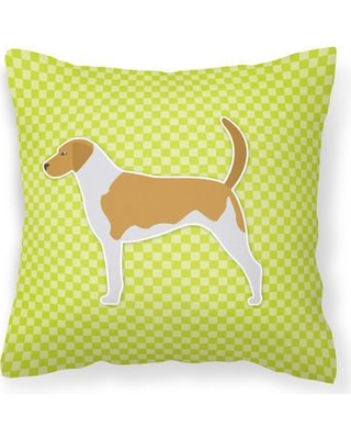 """East Urban Home American Foxhound Indoor/Outdoor Throw Pillow EUME9234 Color: Green Size: 18"""" H x 18"""" W x 3"""" D"""