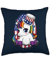 Unicorn Fourth of July - USA Independence USA Flag Design-Unicorn Independence Day Throw Pillow, 18x18, Multicolor