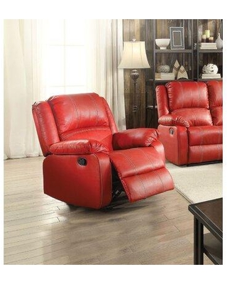 Shop Deals For Latitude Run Djarir Faux Leather Manual Wall Hugger Recliner X115159577 Fabric Red Faux Leather