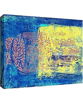 "ArtWall Blue With Stencils by Elena Ray Painting Print on Wrapped Canvas 0ray061a Size: 8"" H 12"" W"