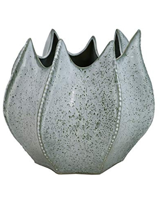 Light Green Ceramic Swirl Vase with Uneven Mouth